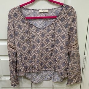 Patterned Tie Long Sleeve Top